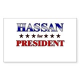 HASSAN for president Rectangle Decal