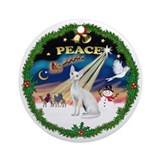 Peace Wreath &amp; Devonshire Rex Ornament (Round)