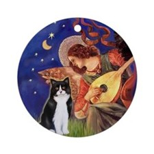 Mandolin Angel & BW Cat Ornament (Round)