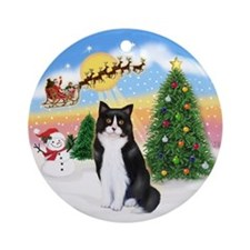 Santa Takes Off (BW cat) Ornament (Round)
