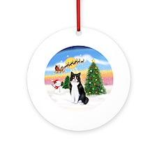 Santa Takes Off (BW cat) Ornament (Round)
