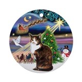 Xmas Magic &amp; Calico cat Ornament (Round)