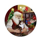 Santa's Calico cat Ornament (Round)