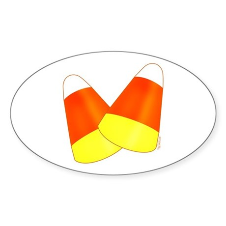 Two Candy Corn Oval Sticker