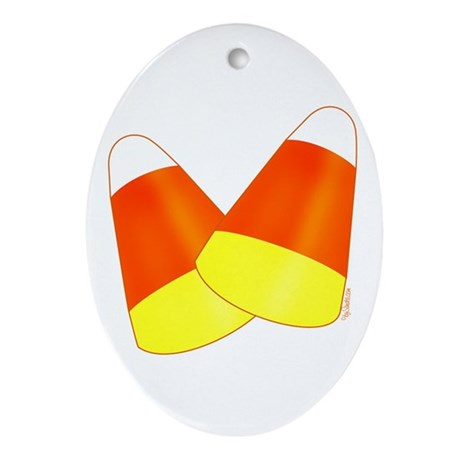 Two Candy Corn Oval Ornament