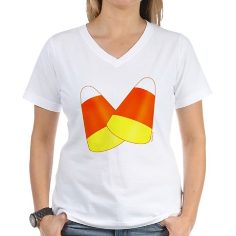 Two Candy Corn Women's V-Neck T-Shirt