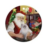 Santa's blue Ragdoll cat Ornament (Round)