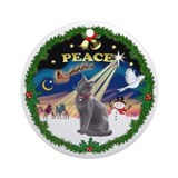 Peace Wreath &amp; Russian Blue Cat Ornament (Round)