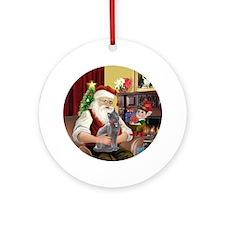 Santa's Russian Blue Cat Ornament (Round)