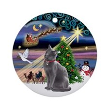 Xmas Magic & Russian Blue Cat Ornament (Round)