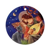 Mandolin Angel & Russian Blue Cat Ornament (Round)