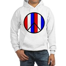 Red White Blue Peace Sign Hoodie