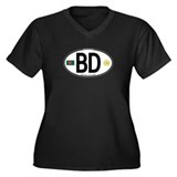 Bangladesh Euro Oval Women's Plus Size V-Neck Dark