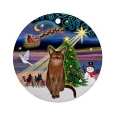 Xmas Magic & Abyssinian (R) Ornament (Round)