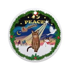 Peace Wreath & Abyssinian (R) Ornament (Round)
