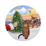 Treat for Santa's Abyssinian (R) Ornament (Round)