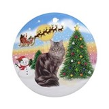 Santa's Take Off (1) &amp; Maine Coon Ornament (Round)