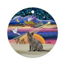 Xmas Star & Burmese cat Ornament (Round)