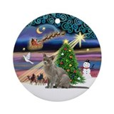 Xmas Magic &amp;amp; Burmese cat Ornament (Round)