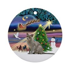 Xmas Magic & Burmese cat Ornament (Round)
