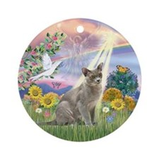Cloud Angel & Burmese cat Ornament (Round)