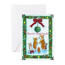 A Corgi Christmas Kiss Greeting Cards (Pk of 10)