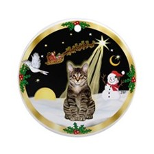 W-Night Flight/Tabby Tiger Cat Ornament (Round)