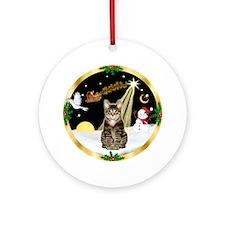 W-Night Flight/Tabby Tiger Cat Ornament (Round)