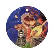 Mandolin Angel & brown tabby (SH) Ornament (Round)