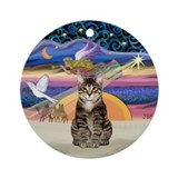 Xmas Star & brown tabby (SH) Ornament (Round)