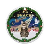 PEACE wreath & brown tabby (SH) Ornament (Round)