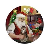 Santa's brown tabby (SH) Ornament (Round)