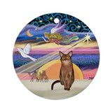 Xmas Star &amp; Abyssinian (R) Ornament (Round)