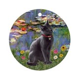 Lilies & Russian Blue cat Ornament (Round)