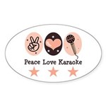 Peace Love Karaoke Oval Sticker