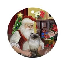 Santa & his Himilayan cat Ornament (Round)