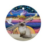 Xmas Star & Himilayan Cat Ornament (Round)