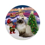 Santa's Take Off & Himilayan Cat Ornament (Round)