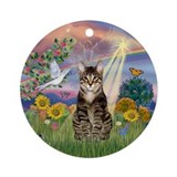 Cloud Angel & Tabby Cat Ornament (Round)