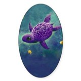 Sea Turtle and friends Oval Decal