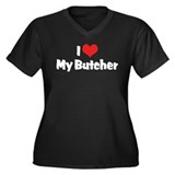 I Love My Butcher Women's Plus Size V-Neck Dark T-