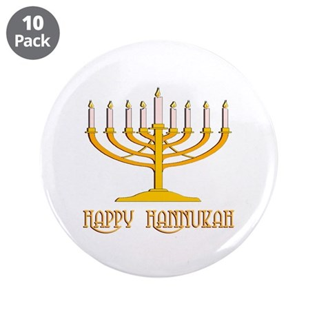 "Happy Hanukkah 3.5"" Button (10 pack)"