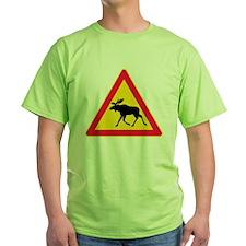 Moose Crossing Road Sign T-Shirt