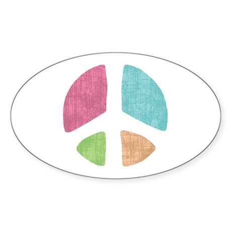 Stencil Peace Oval Sticker