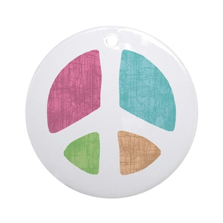 Stencil Peace Ornament (Round)