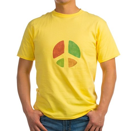 Stencil Peace Yellow T-Shirt