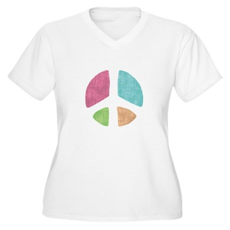 Stencil Peace Women's Plus Size V-Neck T-Shirt
