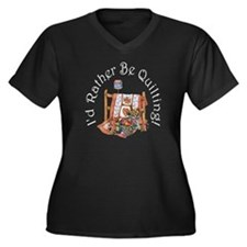 I'd Rather Be Quilting! Plus Size V-Neck Dark T