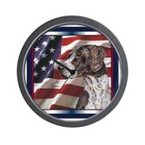 German Shorthair Pointer Patriotic Flag Wall Clock