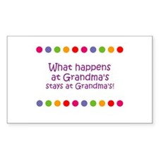 What happens at Grandma's sta Sticker (Rectangular
